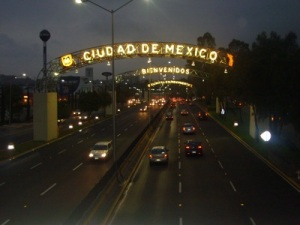 Over the highway when entering Mexico City
